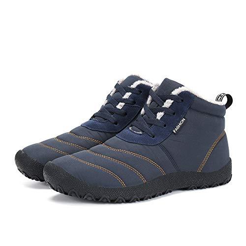 Uomo Invernali Scarpe Impermeabile Pantofole Caldo Pelliccia Stringate Antiscivolo Boots Piatto All'aperto Caviglia Stivali Blue