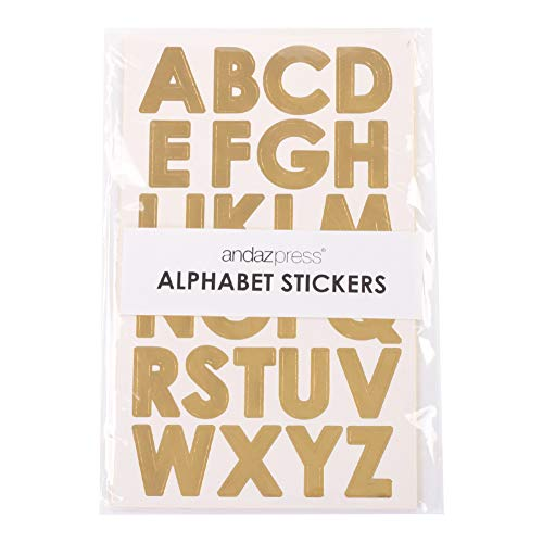 Andaz Press Large Gold Foil Alphabet Sticker Letters, Big 1-Inch Labels for Wedding, Kids Birthday, Classroom Teacher Supplies, Crafting, Scrapbooking, Graduation Cap Decorations ()