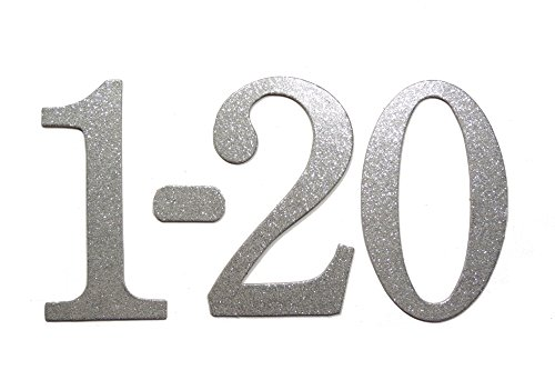 4'' Silver Glitter self-adhesive Chipboard Table Numbers for Wedding / Banquets (#1 to #20) by Agsense