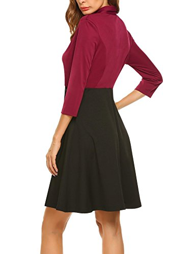 Hotouch Women's 3/4 Sleeve Slim Business Casual Long Top Dress Blazer Jackets Red XL by Hotouch (Image #3)