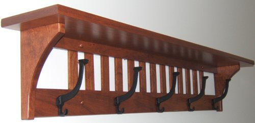 wall mounted coat rack with shelf and mirror walmart mission solid cherry wood hook custom handmade pick your own stain wooden stands amazon ha