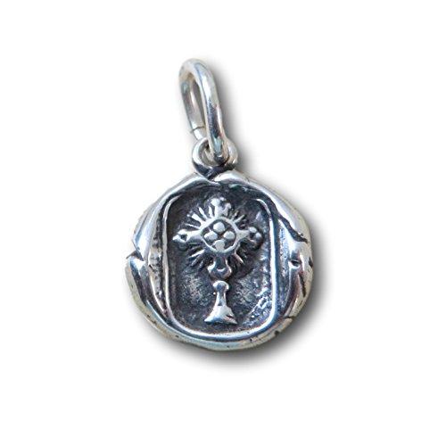 Rosa Mystica Sterling Silver Radiant Cross Wax Seal Pendant (Sterling Silver Wax Seal Pendant)