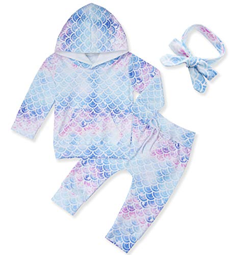 Little Kids Winter Long Sleeve Hoodie Top and Pants Sets with Pocket 6-12 Month Baby Girls Mermaid Sweatsuits 3pcs Fish Scale Clothes Set Match Cute Headwrap