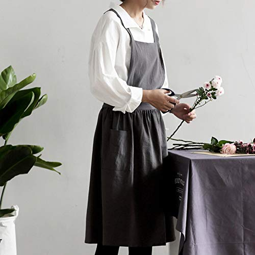 Quanzl Apron Cooking Painting, Literary Pleated Skirt, Retro Fashion Restaurant, Sleeveless Adult Studio, Cotton and Linen Apron, Carbon Grey and Pocket