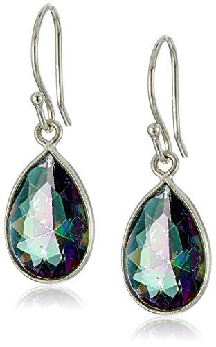 Sterling Silver Mystic Quartz Pear Shape Bezel Dangle Earrings
