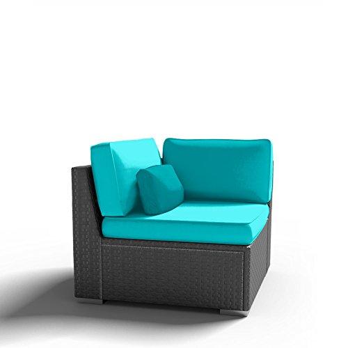 Modenzi C-U (Left) Corner Chair Outdoor Patio Furniture Espresso Brown Wicker (Turquoise) (Corner Rattan Garden Furniture)