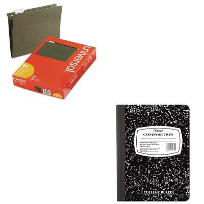 KITMEA09910UNV14115 - Value Kit - Mead Black Marble Composition Book (MEA09910) and Universal Hanging File Folders (UNV14115)