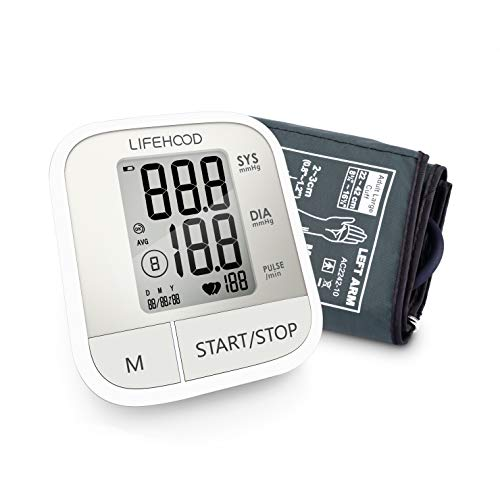 Blood Pressure Monitor Clinically Accurate Fast Reading, 60 Reading Memory Automatic Upper Arm Digital BP Monitor with Large Display Buttons, Wide Range Cuff, One Touch Operation for Home Use