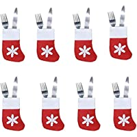 Christmas Decorations,T Tersely 8pcs Xmas Set Cutlery Suit Decor Table Dinner Silverware Holders Pockets Knifes Forks…