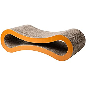 ELENKER Cat Scratcher Cardboard Lounge, Durable Reversible Pet Scratching Pad and Sofa (Curve-shaped)