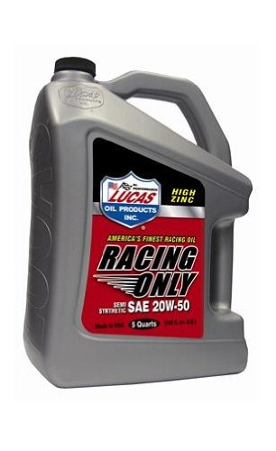 Lucas Oil 10378 SAE 20 W50 semi-synthetic Racing Motor Oil – 5 Quart Jug B008OE3TVQ