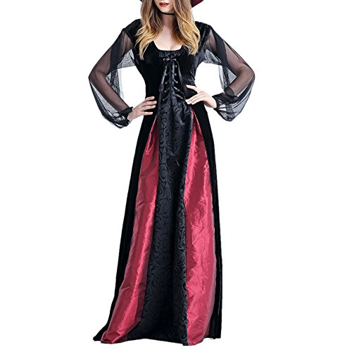 Tween Dorothy Costumes (LETSQK Women's Adult Halloween Party Cosplay Fancy Dress Gothic Vampiress Costumes L)