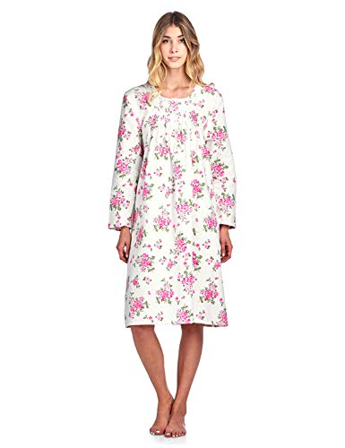 Casual Nights Women's Flannel Floral Long Sleeve Nightgown - Floral Pink - Large