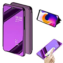 Cistor Huawei P20 Lite Mirror Flip Case,Luxury Light Purple Clear View Translucent Metal Electroplate Plating Case for Huawei P20 Lite,Shockproof Thin Hard PC Case with Stand Function + 1x Free Ring Holder