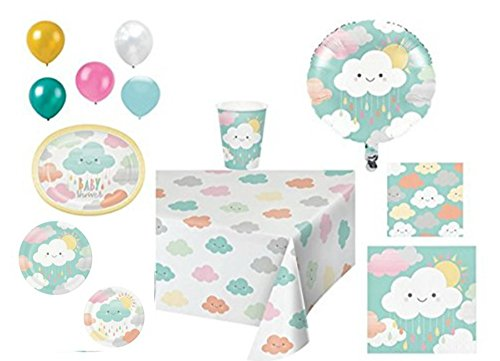Disposable Plates/Napkins/Cups/Tablecloth/Balloons Sunshine Baby Shower Themed Party Pack, 9 Piece Bundle ()