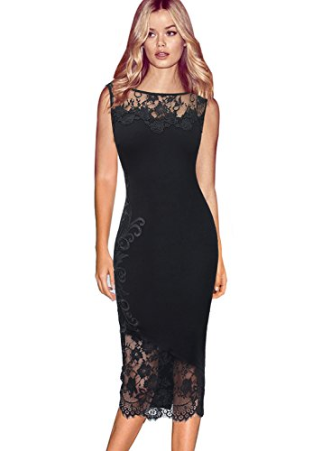 VfEmage Womens Sexy Applique Floral Lace Cocktail Party Midi Sheath Dress 7451 Blk 20