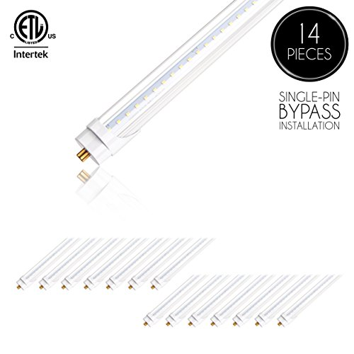 (14 Pack) Parmida LED T8 Light Tube, 8FT, FA8 Base, 48W (110W Replacement), 6000K (Bright White), 6000lm, ETL-Listed, Clear Cover, Shatterproof, Dual-End Powered, FA8 Single Pin Base, Bypass ballast by Parmida LED Technologies