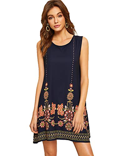 - Floerns Women's Loose Floral Embroidered Tank Dress Summer Sleeveless Dresses Navy-2 XL