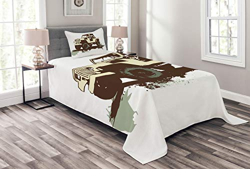 Lunarable Grunge Bedspread, Retro Pop Art Style Vintage Car Jeep on The Road Adventure Graphic Design, Decorative Quilted 2 Piece Coverlet Set with Pillow Sham, Twin Size, Brown Cream
