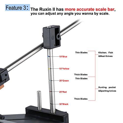 Ruixin Pro II - Afilador de Cuchillos (Ángulo Fijo, Manual, con 4 Piedras de Afilar) Profesional Juego para Cocina