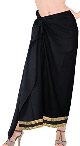 La Leela Rayon Hawaiian Women's Beach Bikini Swimwear Swimsuit Pareo Slit Skirt Pareo sarong Plain Black one Size