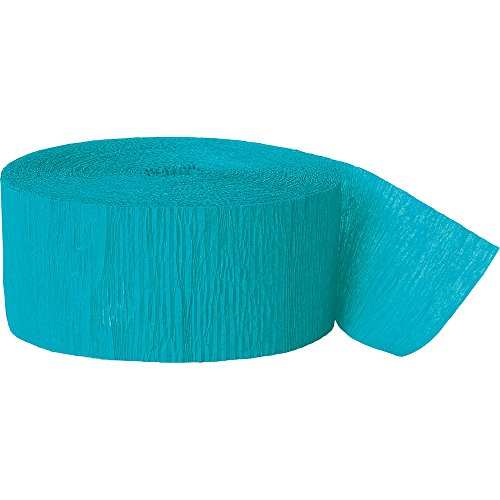 Crepe Paper Streamers, 81 Feet, Teal - Crepe Streamer Party Decoration