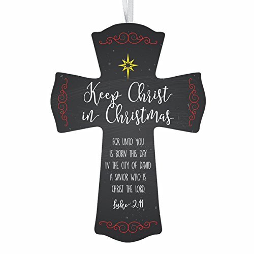 - Wooden Keep Christ in Christmas Starlight Hanging Cross with Ribbon, 6 Inches