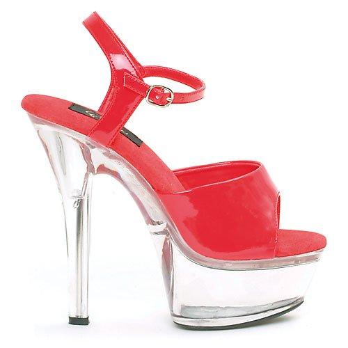Scarpe Ellie Donna 601 Juliet C Sandalo Piattaforma Rosso / Trasparente