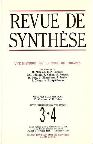 En ligne téléchargement Revue de Synthèse, numéro 3-4, Juillet- Décembre 1988 : Une histoire des sciences de l'homme pdf epub