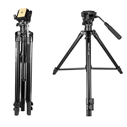 56-inch Adjustment Fluid Head Tripod,KINGJOY VT-2000 Adjustable Camera Video Tripod Legs Stand with Detachable Fluid Drag Pan Tilt Head for Canon Nikon Sony DSLR Camera Camcorder Video Shooting Filmin by KingJoy