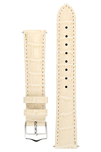 Signature Tropico in cream 18 mm watch band. Replacement watch strap. Genuine leather. Silver Buckle (Beige Leather Watch)