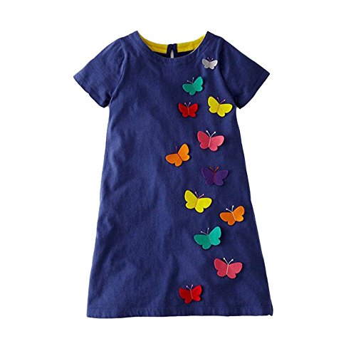 VIKITA 2018 Toddler Girls Summer Dresses Short Sleeve Outfit 3-8 Years (JM6808, 8T)