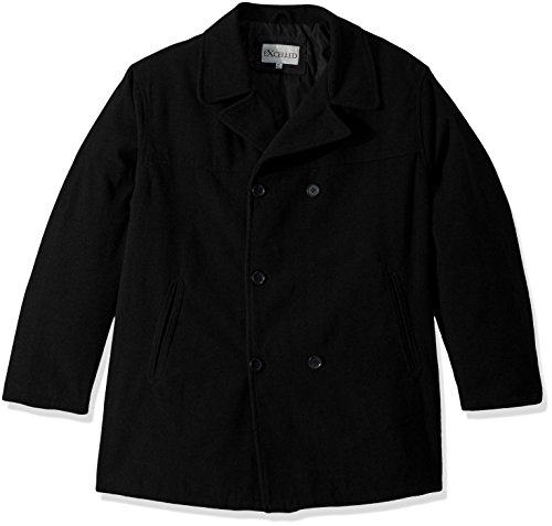 Excelled Men's Big and Tall Polyester Peacoat, Black, 3X