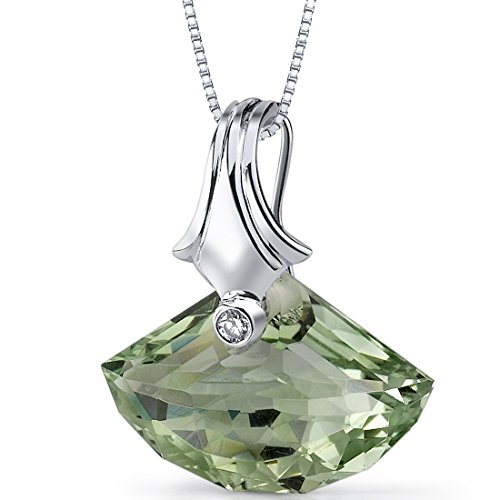 (Peora Spectacular Shell Cut 13.00 Carat Green Amethyst Necklace Sterling Silver)