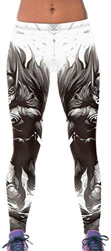 UpU Womens Trendy Batman Print High Stretchy Leggings One Size - Black Silk Chiffon Pleat Skirt