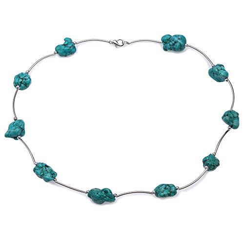 Irregular Necklace Shape Turquoise - JYX Handmade Blue Turquoise Necklace 13×20mm Irregular Turquoise Necklace Single-strand Gemstone 19