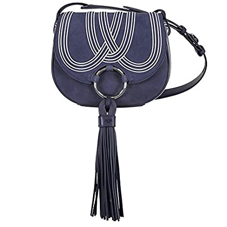 51bcc8f7304 Buy Tory Burch Tassel Mini Suede Leather Saddlebag - True Blue Online at  Low Prices in India - Amazon.in