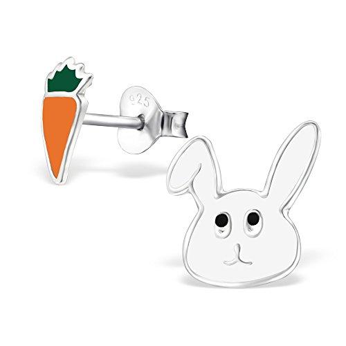 925 Sterling Silver Hypoallergenic Easter Bunny & Carrot Stud Earrings for Girls 28113 (Carrot 1 Ring)