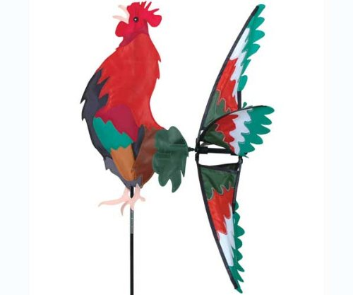 Premier Kites Morning Rooster Spinner - Great Garden Display, Red & Green