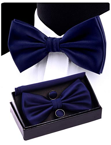 Blue Solid Bowties - GUSLESON Mens Navy Blue Wedding Bow Tie Set Pre-tied Bowtie and Pocket Square Cufflink (0570-06)