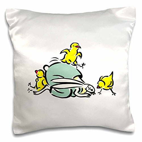 Susans Zoo Crew Holidays Easter - three yellow chicks dancing on weird bunny - 16x16 inch Pillow Case - April Weird Holidays