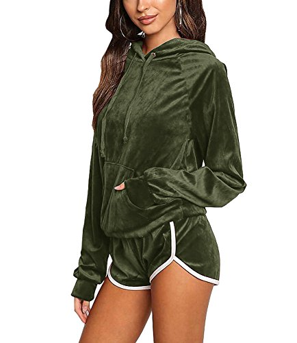 Noih Womens Velvet Hoodie and Shorts Set Tracksuit With Pocket ()