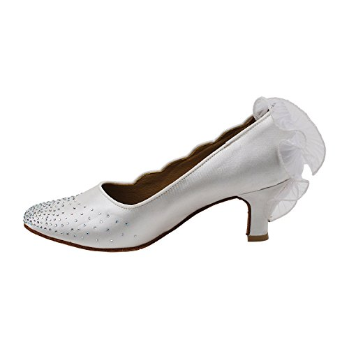 Gold Pigeon Shoes Party Party SERA5518 Comfort Evening Dress Pumps, Wedding Shoes: Women Ballroom Dance Shoes Medium Heel 5518- White Satin