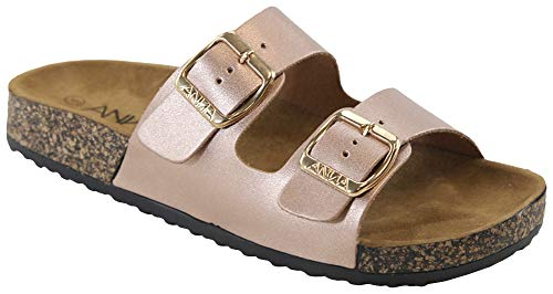 Anna Women's Casual Buckle Straps Sandals Flip Flop Platform Footbed (8.5, Rose Gold) ()