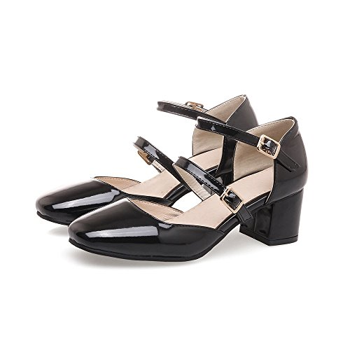 Square Toe Buckle - Women Sweet Patent Leather Chunky Mid Heel Dress Pumps Square Toe Buckle Sandals