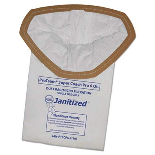 Janitized JAN-PTSCP6-2(10) Premium Replacement Commercial Vacuum Bag for ProTeam Super Coach Pro 6, GoFree Pro & ProVac FS 6 Qt. Vacuums(10-10 Packs) by Janitized