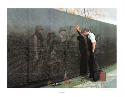 Vietnam Reflections War Memorial Poster Fine Art Print by Lee Teter (Overall Size: 30x23) (Image Size: (Vietnam Memorial)
