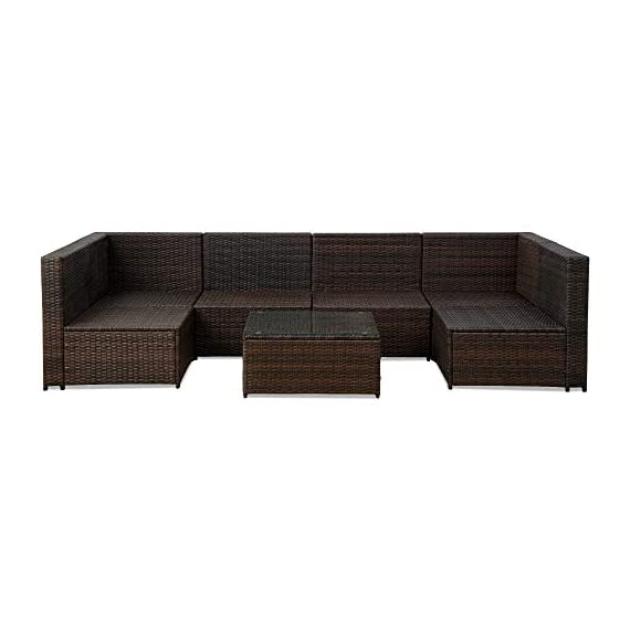 romatlink 7 Pieces Outdoor Rattan Patio Furniture Set, Modern Wicker Conversation Sectional Sofa Chairs with Cushioned Couch & Glass Top Coffee Table, Perfect for Garden Lawn Poolside Backyard - [Multiple layouts available for you]: The 7 pcs Rattan wicker sectional comes with 2 corner sofas, 4 Middle sofas, and 1 Coffee Table; cushions and throw pillows are also included to complete this set. Choose from a variety of different layouts and combinations to find your optimal configuration. [Modern & comfortable]: modern design outdoor sectional sofa with high-quality thickened Seat and back cushions take you more extraordinary comfort, Enjoy your leisure time whatever sitting or lying, suitable for entertaining your neighbors or friends. [Easy cleaning]: fade resistant cushions for easy to rinse. Simply zip off the machine washable cushion covers and give them a quick wash to have them looking brand new. - patio-furniture, patio, conversation-sets - 41Q1B4Px5gL. SS570  -