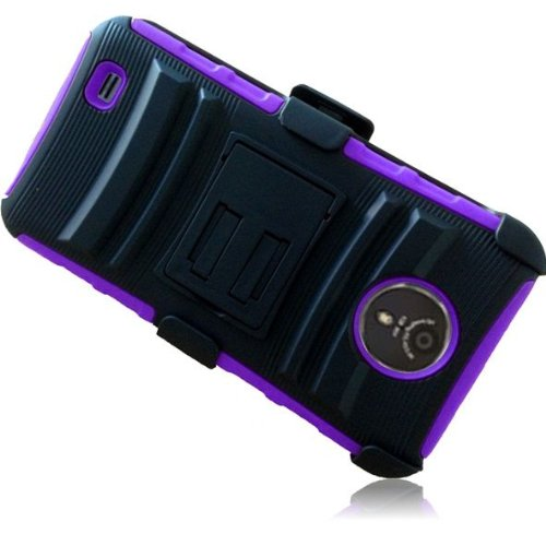 preme ( Virgin Mobile , Sprint ) Phone Case Accessory Sensational Purple Dual Protection Impact Hybrid Cover with Holster Combo and Built-in Kickstand comes with Free Gift Aplus Pouch ()