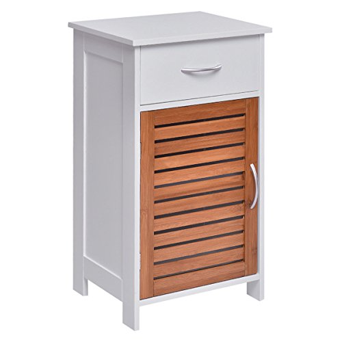 Cabinet Standing Storage Wall Louvered Shutter Door Bathroom Organizer w/ Drawer (17' Wall Floor)
